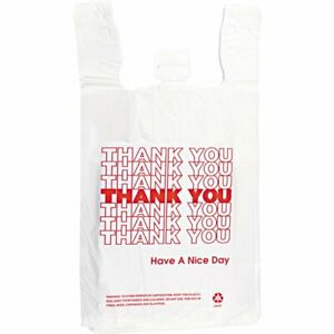 Thank You To Go White Plastic Shopping Bags 1 6 Bags 1000 case