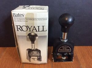 Bates Royall Automatic Numbering Machine Rnm5a 7 With Box Instructions