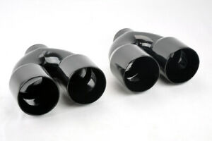 Dual 3 5 Quad Style Gloss Black Steel Exhaust Tips Fits Pontiac Gto 2004 2006
