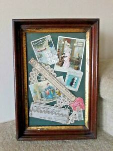 Antique Victorian Picture Frame Gold Gilt Sewing Machine Trade Cards Buttons