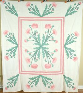 Outstanding Vintage 20 S Marie Webster Poppy Medallion Applique Quilt Top
