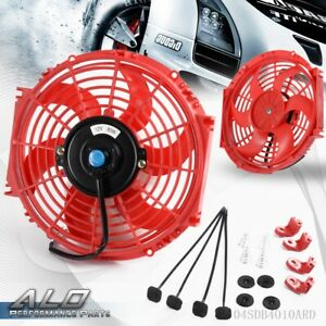 10 Universal Racing Electric Radiator Engine Cooling Fan Slim Pull Push Red