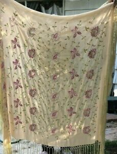 Vtg Embroidered Silk Piano Shawl Double Sided