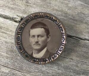Antique Tintype Ferrotype Waistcoat Photo Button Brass Of Young Man Mourning Vtg