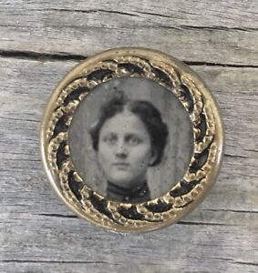 Antique Tintype Ferrotype Waistcoat Photo Button Brass Young Lady Mourning Vtg