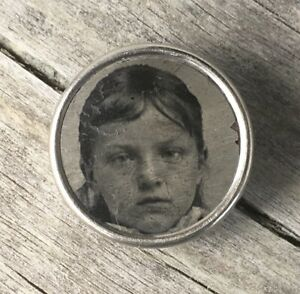 Antique Tintype Ferrotype Waistcoat Photo Button Metal Young Girl Mourning Vtg