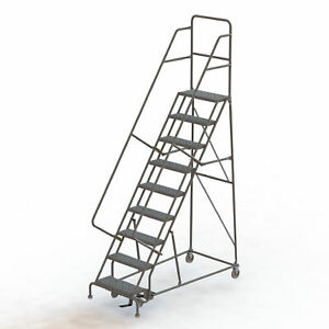 9 step Steel Rolling Ladder W perforated Steps Gry 24inwx10ind Plat 450lb Cap