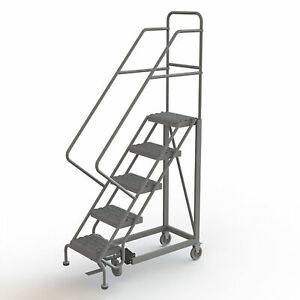 5 step Steel Rolling Ladder W serrated Steps Gry 50inh Top Step 16in 450lb Cap