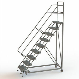 9 step Steel Rolling Ladder W serrated Steps Gry 90inh Top Step 24in 450lb Cap