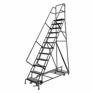 12 step Steel Rolling Ladder W perforated Steps 120inh Top Step 24in 450lb Cap