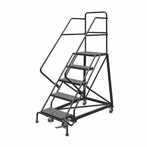 5 step Steel Rolling Ladder W perforated Steps Gry 50inh Top Step 24in 450lb Cap
