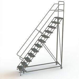 12 step Steel Rolling Ladder W serrated Steps Gry 120inh Top Step 24in 450lb Cap