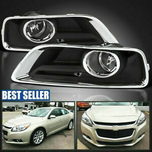 2013 2015 Chevy Malibu Clear Fog Lights Bumper Driving Lamps With Switch Bezel