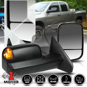 pair Power heated Flip Up W amber Led Signal Towing Mirror For 02 09 Dodge Ram