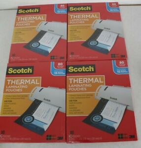 Lot 4 Scotch Thermal Laminating Pouches 8 9 X 11 4 inches 80ct 320ct Total