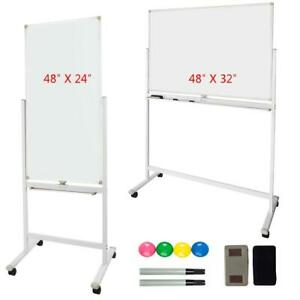 Dry Erase Magnetic Board Stand Sided Whiteboard 360 rolling Wheels Business 48