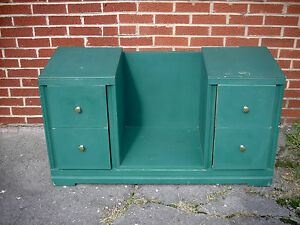 Vintage Green Vanity Dresser Makeup Stand Without Mirror