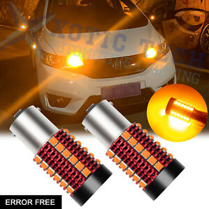 Anti Hyper Flash Error Free 3000k Amber 1156 Ba15s Led Bulbs Turn Signal Lights