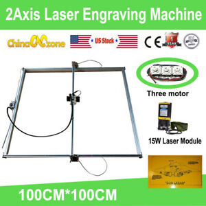 100 100cm 2axis Laser Engraving Machine Router Kit Engraver 15w Laser Module Us