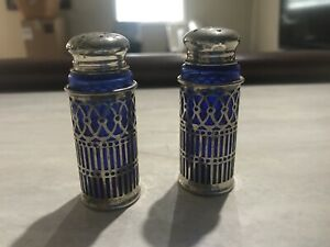 Webster Filigree Sterling Silver Cobalt Glass Salt Pepper Shakers