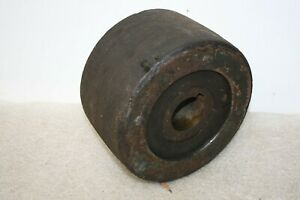 Vintage Hit Miss Machine Shop Flat Fiber Belt Pulley 8 X 4 3 4 Shaft 1 15 16