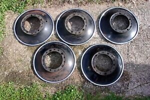 1934 35 Cadillac Limo 5 Wire Wheel Disc Covers W Stainless Rings