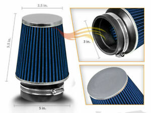 3 Blue Narrow Dry Type Filter High Flow Sport Cold Air Intake Cone 76mm