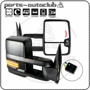 Power Heated Clearance Dynamic Led Signal Tow Mirrors For 99 02 Silverado Sierra