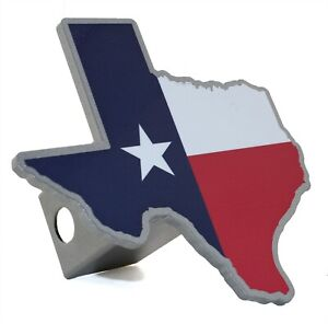 State Of Texas Flag Silver Metal Hitch Cover
