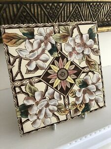Antique Victorian Floral Aesthetic Movement Print Tint Apple Blossom Tile 1885