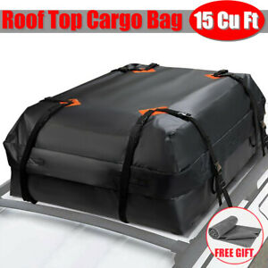 Roof Top Cargo Bag 15 Cu Ft Heavy Duty Roof Bag Fit All Cars With Without Rack