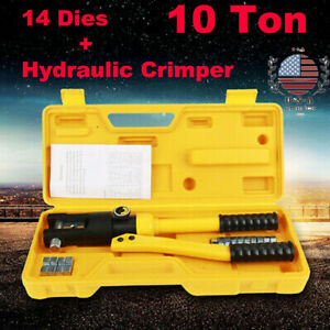 10 Ton Hydraulic Wire Crimper Tool Battery Cable Lug Terminal Crimping W 14 Dies