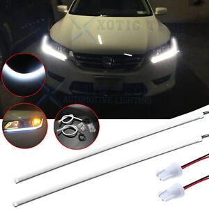 White Illuminating Led Drl Strip Headlight Retrofit For Honda Accord Sedan 13 15