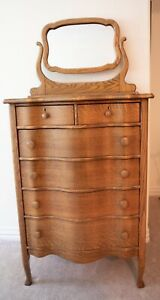 Oak Highboy Bowline Dresser With Mirror