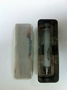Antique Argentina Deluca Glass Medical Syringe With Case Large Size 636b