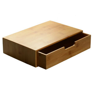 Bamboo Paper Document Letter Tray Desk Organizer A4 File Rack With Drawer Office