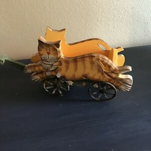 Vintage Primitive Wooden Cat Wagon Metal Wheels