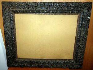 1880 S Large Antique Picture Frame Glass Solid Wood Carved Gilt 23x27 20x16