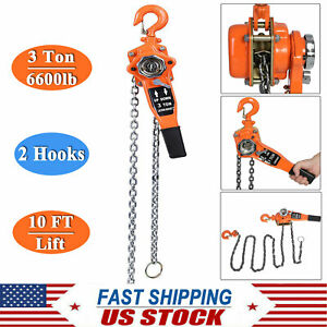 3 Ton 6600lb Ratcheting Lever Block Chain Hoist Come Along 3 Meters With 2 Hooks