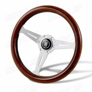 Nardiclassic 350mm Steering Wheel Mahogany Wood With Polished Spoke D Style New