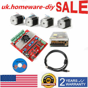 4 Axis Tb6600 Cnc Kit 290oz in Nema 23 Stepper Motor 6leads Driver Board