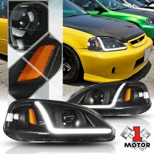 Black clear Projector Headlight Led Bar Drl Amber Signal For 99 00 Honda Civic