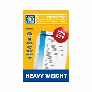 100 Mini Clear Heavyweight Sheet Page Protectors Binders Archival Safe Documents