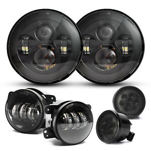 7 Led Headlights 4 Fog Lights turn Signal Lights For Jeep Wrangler Jk 2007 17
