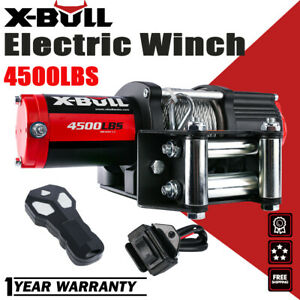X bull 12v 4500lbs Electric Winch Atv Utv Towing Truck Synthetic Rope Red 4wd