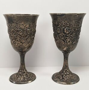 A G Schultz Co Pair Of Sterling Hand Repousse Wine Goblets Heavy Tarnish