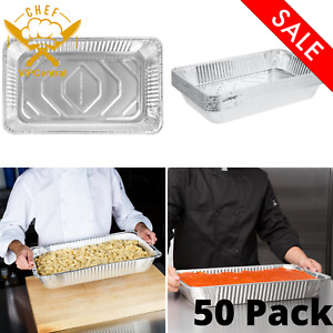 Full size Deep Aluminum Steam Table Pan Catering 50 Pack Durable Disposable