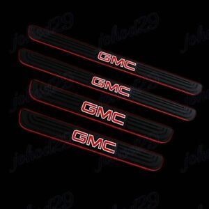 For Gmc 4pcs Black Rubber Car Door Scuff Sill Cover Panel Step Protector