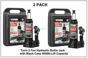 2 Pack Torin 2 Ton Hydraulic Bottle Jack With Black Case 4000lb Lift Capacity