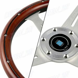 New Nardiclassic 350mm Steering Wheel Mahogany Wood With Polished Spoke G Style